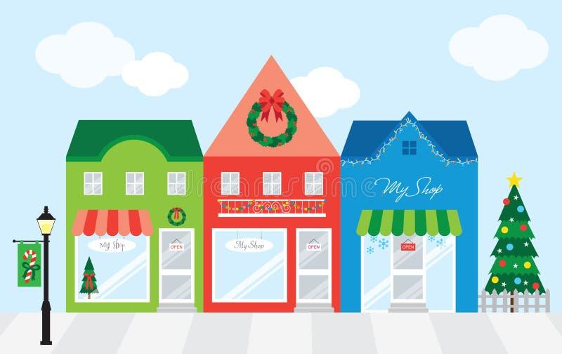 Centro comercial con la decoración de la Navidad ilustración del vector