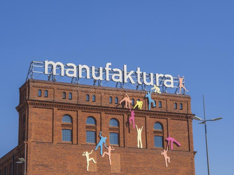 Centro comercial de Manufaktura en Lodz Polonia - fábrica b del ladrillo rojo fotografía de archivo