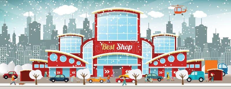 Centro comercial en la ciudad (invierno) stock de ilustración