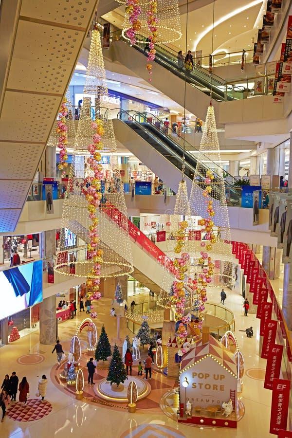 Centro comercial en la estación de la Navidad, Pekín imagen de archivo libre de regalías