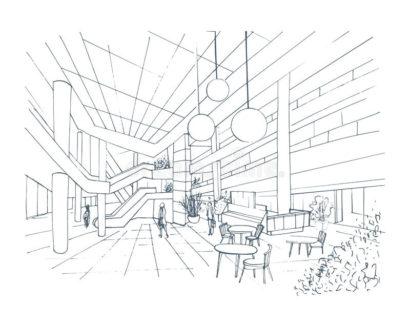 Centro comercial interior moderno, alameda Ejemplo del bosquejo del contorno con la zona de restaurantes ilustración del vector