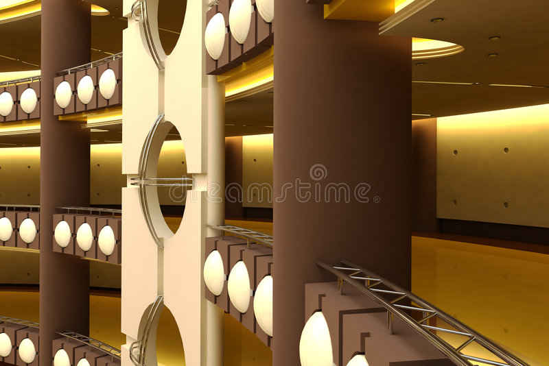 Centro commerciale futuristico illustrazione vettoriale