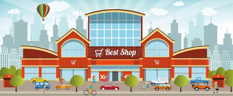 Centro commerciale nella città illustrazione vettoriale