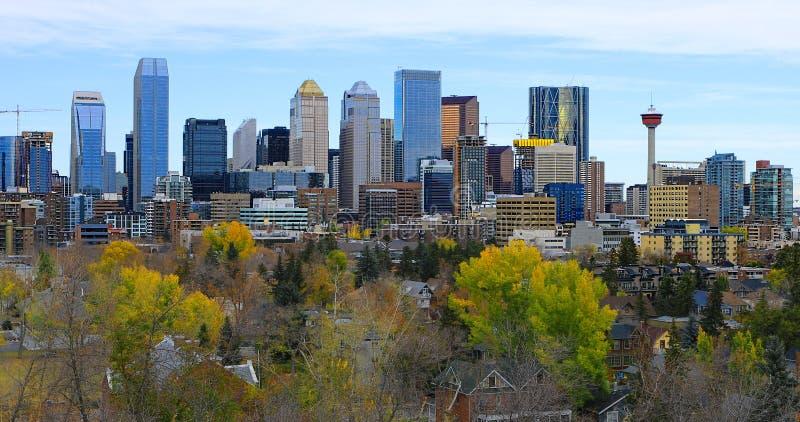 Centro da cidade de Calgary, Canadá com as folhas de outono coloridas imagens de stock