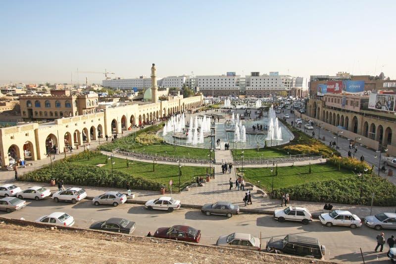 Centro da cidade de Erbil, cidade de Erbil, Curdistão de Iraque imagens de stock royalty free