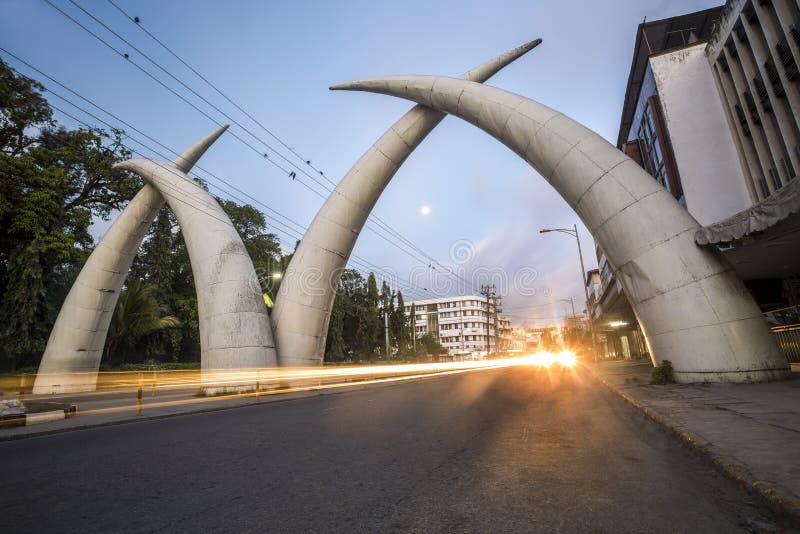 Centro da cidade de Mombasa, Kenya foto de stock