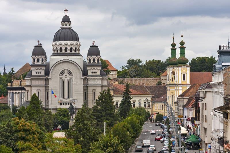 Centro da cidade de Targu Mures imagens de stock