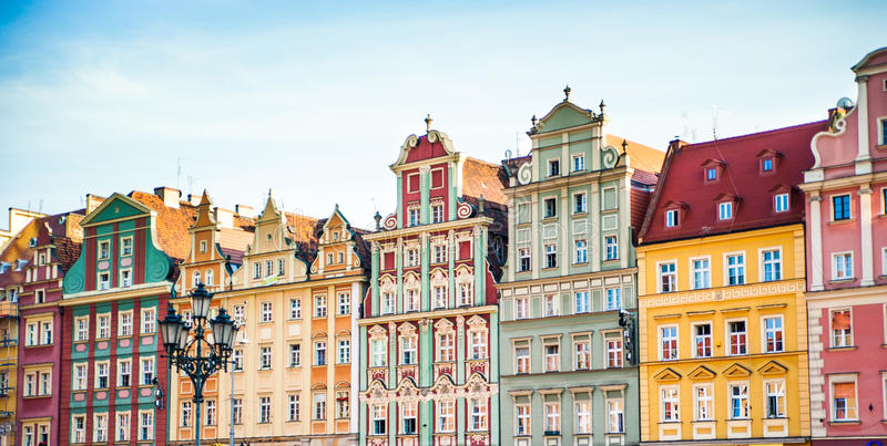 Centro da cidade de Wroclaw, fotos de stock