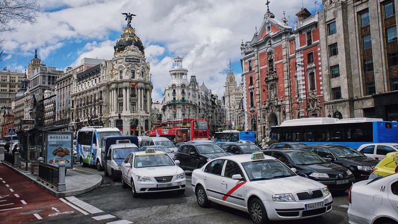Centro da cidade do Madri foto de stock