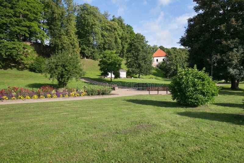 Centro da cidade e igreja velhos em Saldus, Letónia foto de stock royalty free