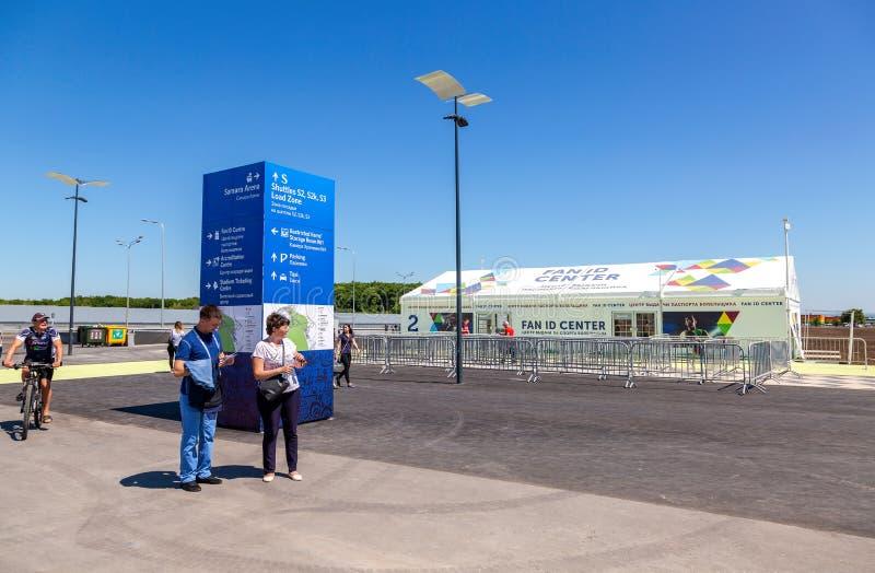 Centro da identificação do fã ao lado de Samara Arena imagens de stock