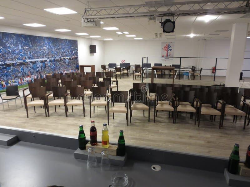 Centro da imprensa da arena HSV do imtech de Hamburgo fotografia de stock royalty free