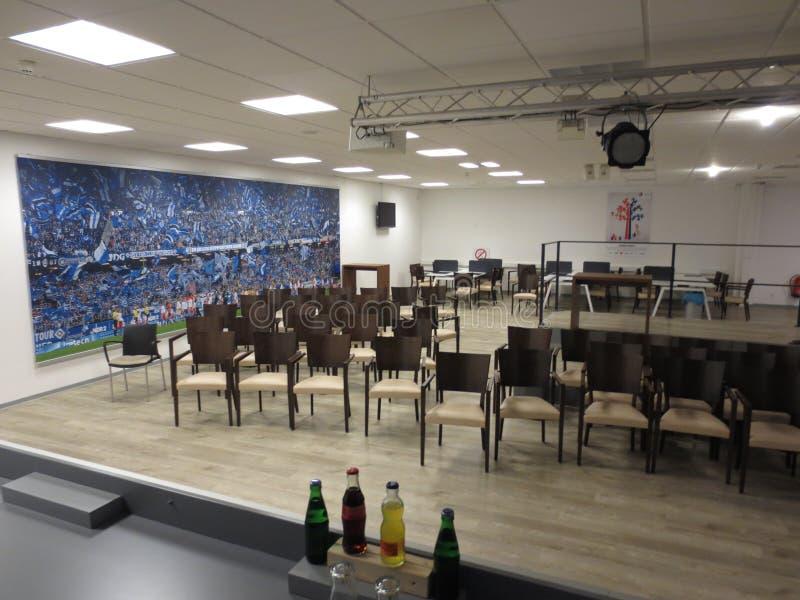 Centro da imprensa da arena HSV do imtech de Hamburgo imagem de stock royalty free