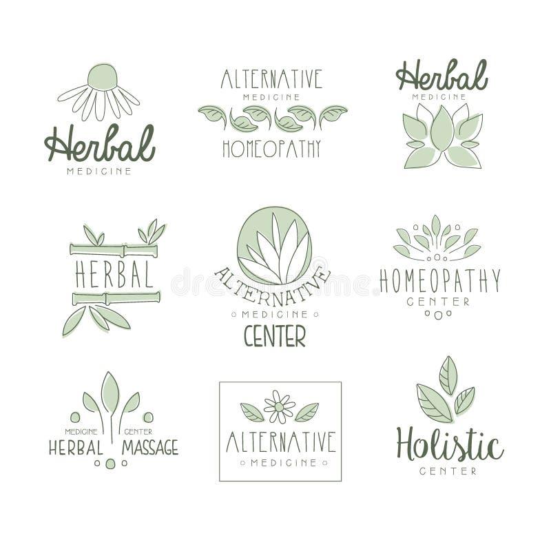 Centro da medicina alternativa com tratamento erval oriental e grupo de procedimentos holístico da massagem de moldes da etiqueta ilustração do vetor