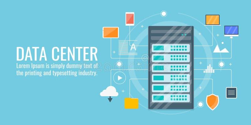 Centro dati, computazione della nuvola, ospitante, server, sicurezza, concetto di tecnologia della rete royalty illustrazione gratis