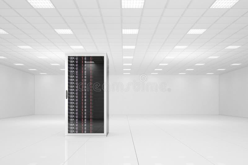 Centro dati con un singolo scaffale illustrazione di stock
