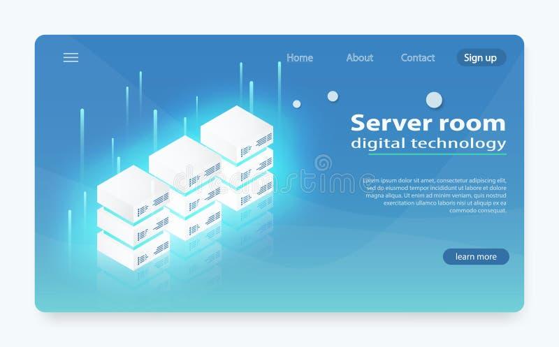 Centro dati della nuvola, icona della stanza del server, richiesta che elabora, tecnologie informatiche di informazioni illustrazione di stock