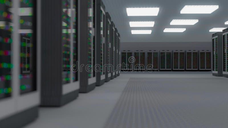 Centro dati della stanza del server Il backup, ospitare, l'elaboratore centrale, l'azienda agricola ed il computer tormentano con illustrazione vettoriale
