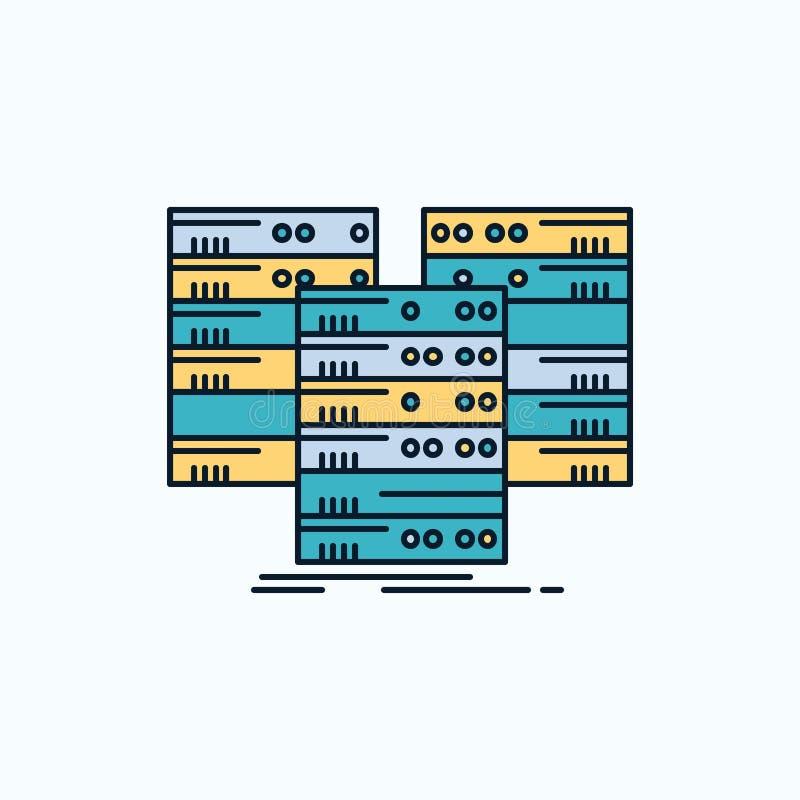 Centro, centro, datos, base de datos, icono plano del servidor muestra y s?mbolos verdes y amarillos para la p?gina web y el appl stock de ilustración