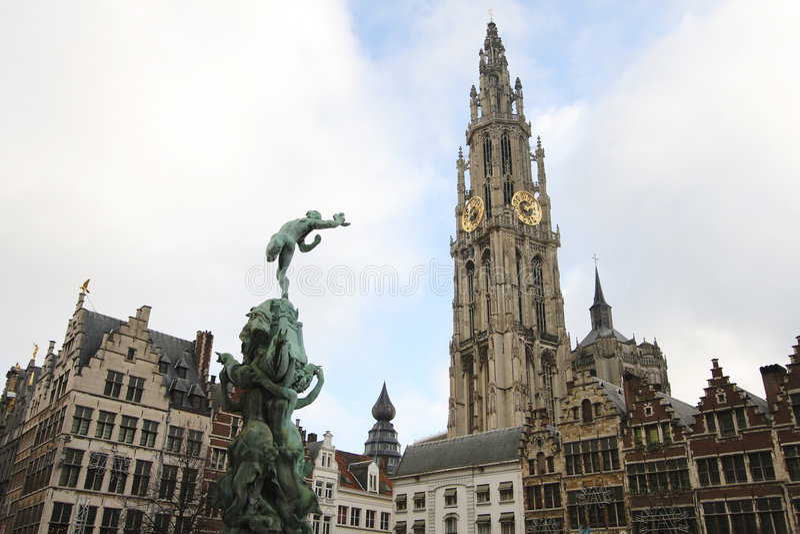 Centro de Amberes, Bélgica foto de archivo