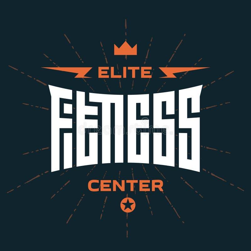 Centro de aptitud de la élite - emblema o logotipo con las letras originales stock de ilustración
