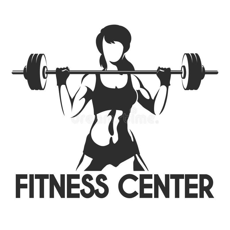 Centro de aptitud o emblema del gimnasio ilustración del vector