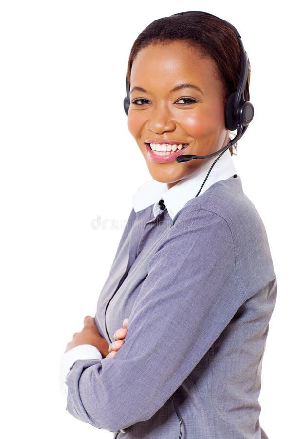 Centro de atención telefónica africano del negocio fotos de archivo