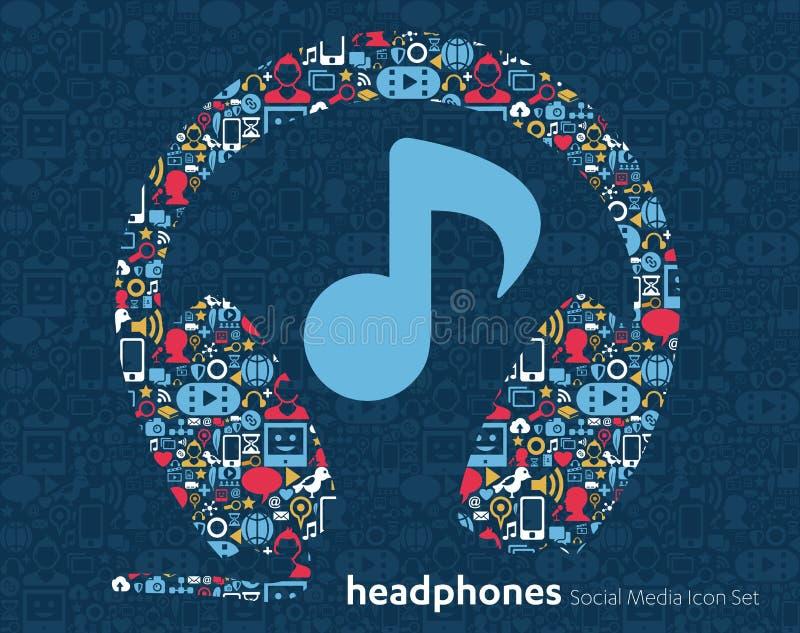 Centro de atención telefónica de la música de medios iconos sociales stock de ilustración