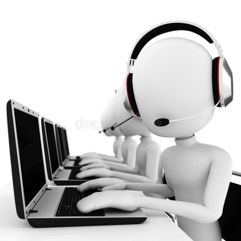 centro de atención telefónica del hombre 3d aislado en blanco libre illustration