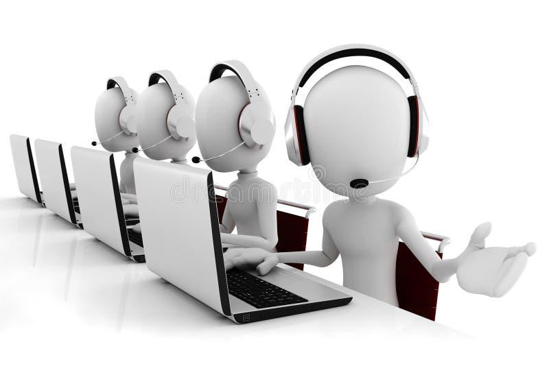 centro de atención telefónica del hombre 3d aislado en blanco stock de ilustración