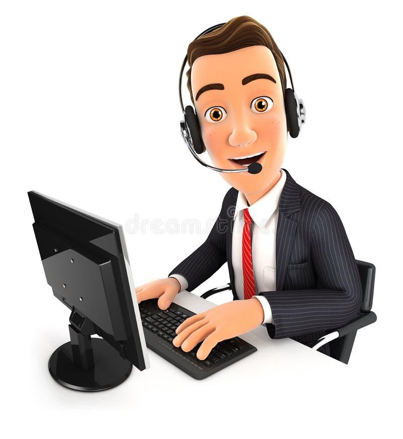centro de atención telefónica del hombre de negocios 3d ilustración del vector