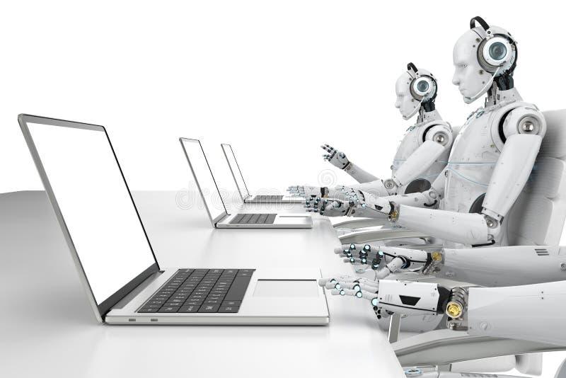 Centro de atención telefónica del robot ilustración del vector