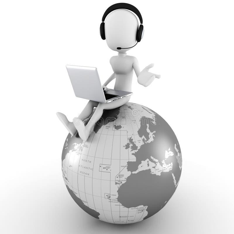 centro de atención telefónica en línea del hombre 3d ilustración del vector