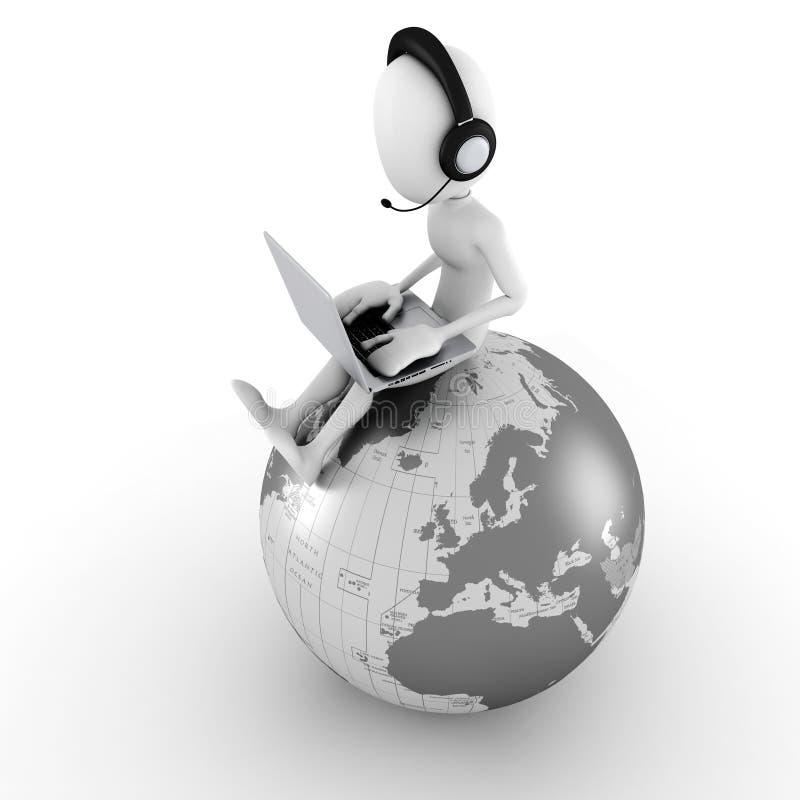 centro de atención telefónica en línea del hombre 3d libre illustration