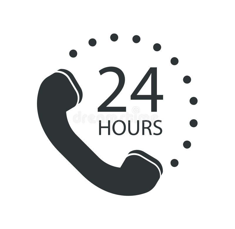 Centro de atención telefónica 24 horas de icono Ilustración del vector libre illustration