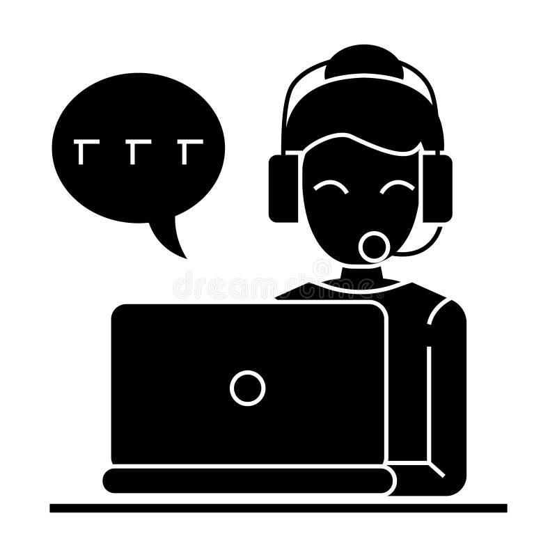 Centro de atención telefónica - icono de las auriculares del ordenador portátil de la mujer, ejemplo del vector, muestra negra en ilustración del vector