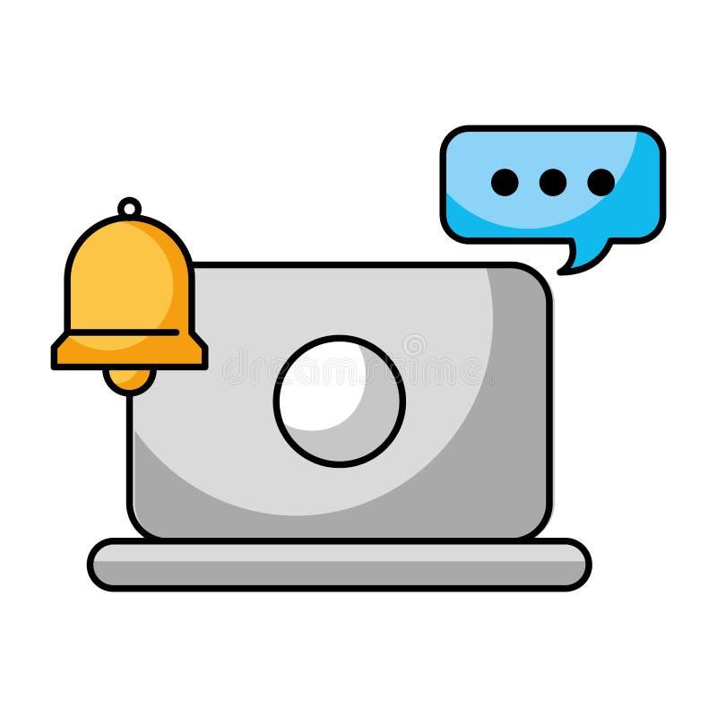 Centro de atención telefónica de la campana de la burbuja del discurso del ordenador portátil libre illustration