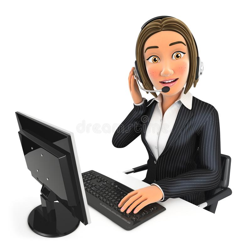 centro de atención telefónica de la mujer de negocios 3d stock de ilustración