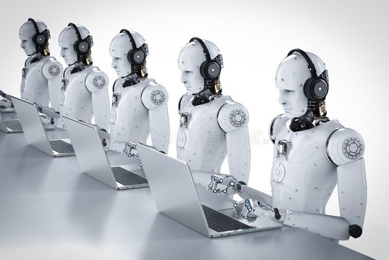 Centro de atención telefónica de los robots fotografía de archivo libre de regalías