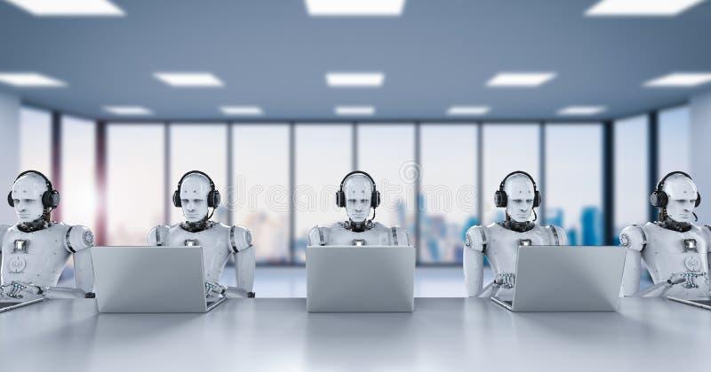 Centro de atención telefónica de los robots stock de ilustración