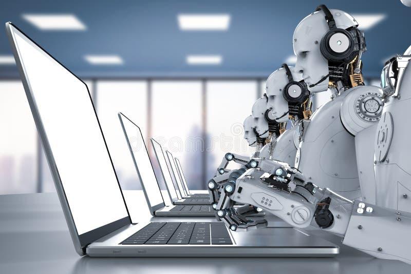 Centro de atención telefónica de los robots ilustración del vector