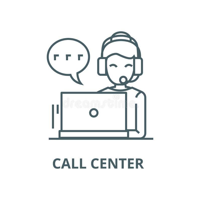 Centro de atención telefónica, mujer con la línea icono, vector de las auriculares Centro de atención telefónica, mujer con la mu ilustración del vector
