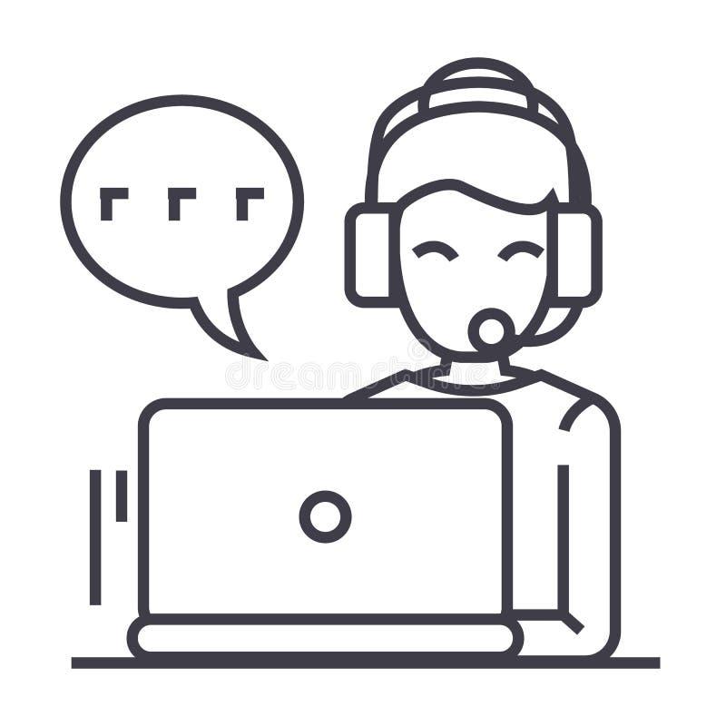 Centro de atención telefónica, mujer con las auriculares que trabajan en la línea icono, muestra, ejemplo del vector del ordenado stock de ilustración