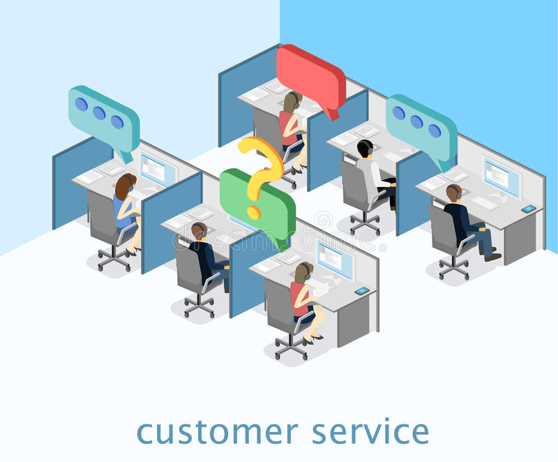 Centro de atención telefónica plano isométrico del interior 3D Atención al cliente stock de ilustración