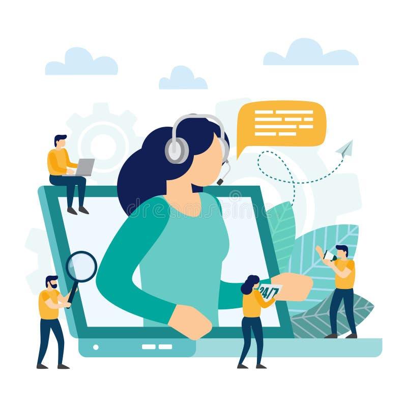 Centro de atendimento, apoio ao cliente O operador da linha de apoio ao cliente recomenda o cliente ilustração royalty free
