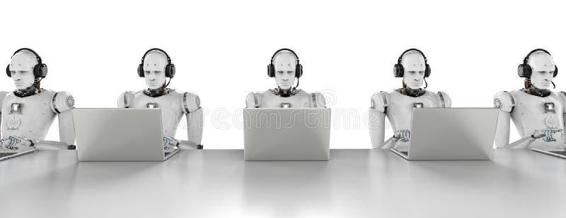 Centro de atendimento dos robôs ilustração stock