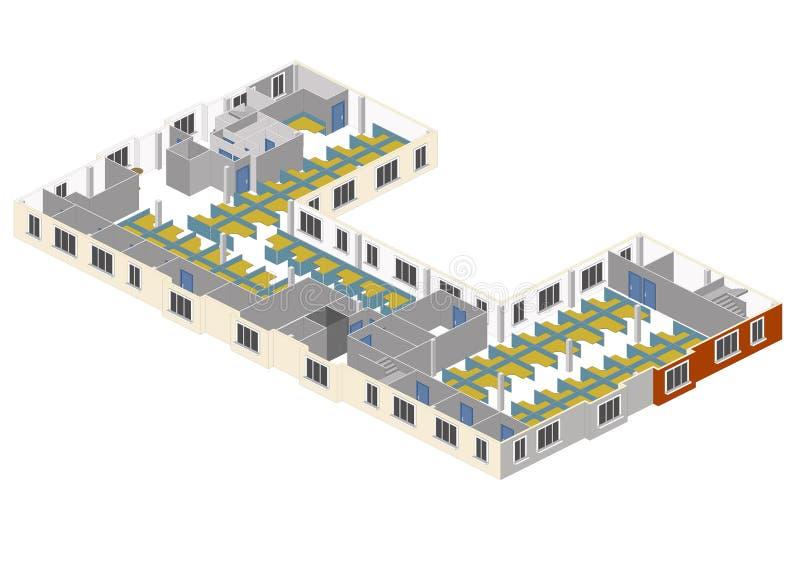 Centro de atendimento ELE assoalho ilustração stock