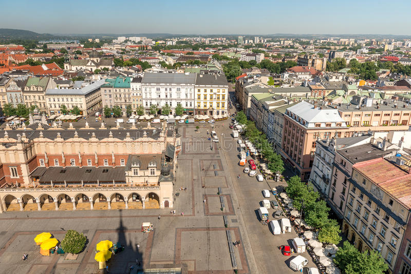 Centro de cidade de Krakow, topview fotografia de stock royalty free