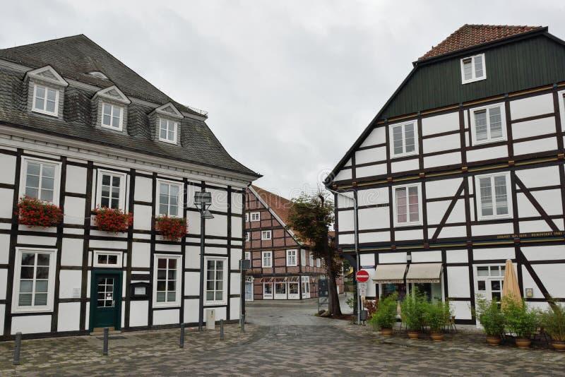 Centro de cidade histórico de Rietberg, Alemanha fotografia de stock