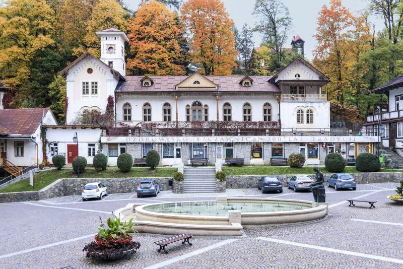 Centro de cidade histórico de Szczawnica, XIX architec de madeira do século fotos de stock